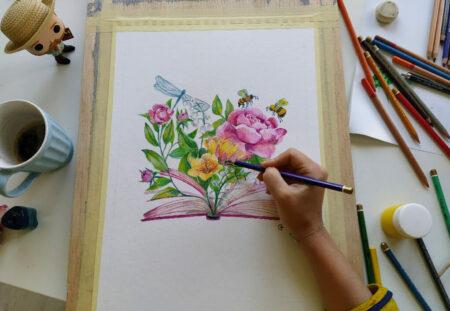 Cadou -5 sesiuni online de pictura cu acrilice pe panza cu Ana-Maria Galateanu